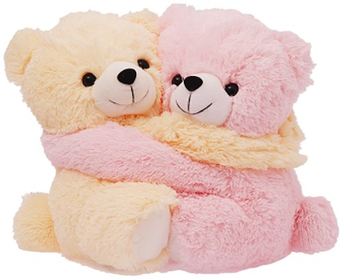 Dimpy Stuff Cute Pink and Cream Bear Couple Soft Toy, Pink (9.8-inch)  available at amazon for Rs.201