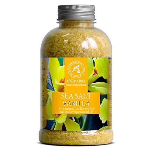 Meersalz Vanille 600g - Badesalz mit 100% Natürlichem Vanille & Zimtöl - Natur Bade-Salz am Besten für Guten Schlaf - Beauty - Baden - Körperpflege - Entspannung - Badezusatz