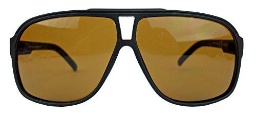 Top Sonnenbrille (Old School Sonnenbrille Herren Nerd Brille 80er Jahre Flat Top oversized MODELLWAHL F79 (M2: Braun Matt))