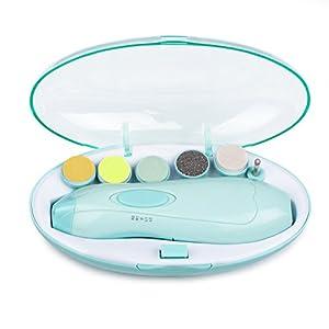 Elektrische Baby Nagelfeile – Momcozy Nagelknipser Set mit Sechs Feilaufsätze für Neugeborene oder Kleinkind oder Erwachsene Zehen und Fingernägel, Batteriebetrieben Baby Nagelpflege mit LED Licht