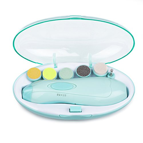 Elektrische Baby Nagelfeile - Momcozy Nagelknipser Set mit Sechs Feilaufsätze für Neugeborene oder Kleinkind oder Erwachsene Zehen und Fingernägel, Batteriebetrieben Baby Nagelpflege mit LED Licht
