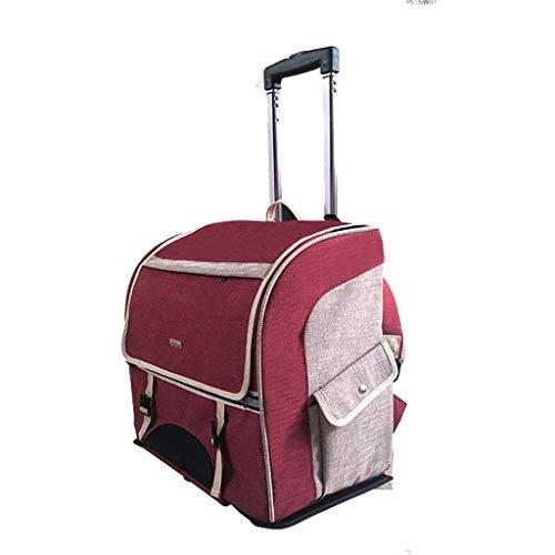 CWTC Pet Travel Backpack Caso Pet Trolley 2 Giri di Portable Staccabile Pieghevole a Doppio Uso del Cane e Gatto all'aperto 44 * 23 * 39CM (Color : B)