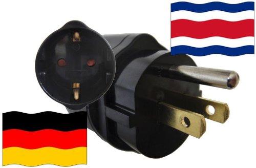 Preisvergleich Produktbild Reise-Adapter COSTA RICA auf Deutschland CR - GER Travel Plug COSTA RICA-Reise (Schutzkontakt, 2200Watt)