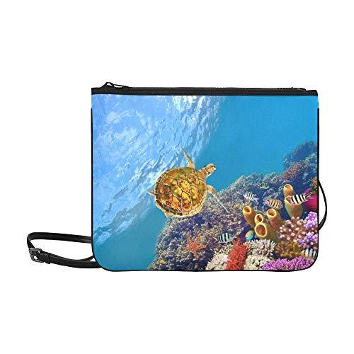 WYYWCY Tube Coral Turtle Shot Rotes Meer Benutzerdefinierte hochwertige Nylon Schlanke Handtasche Umhängetasche Umhängetasche -
