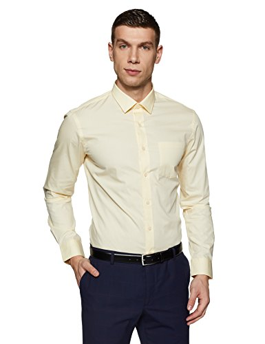 Arrow Men's Solid Slim Fit Formal Shirt (ARES0898_Off White_44)