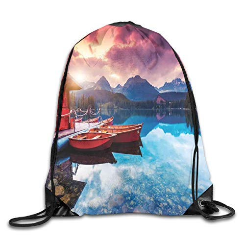 Mountain Balm (Jebnpse Printed Drawstring Backpacks Bags,Peaceful Mountain Lake with Majestic Sky and Mountains In South Asia Romantic View Photo,Adjustable String Closure)