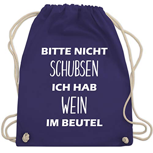Festival Turnbeutel - Bitte nicht schubsen ich hab Wein im Beutel - Unisize - Lila - WM110 - Turnbeutel & Gym Bag
