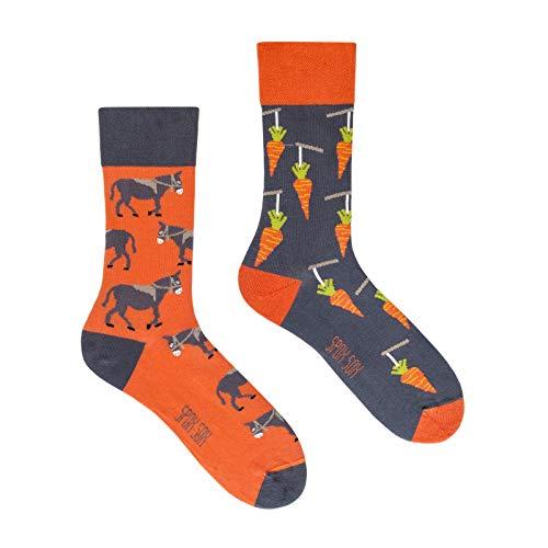 Spox Sox Casual Unisex - mehrfarbige, bunte Socken für Individualisten, Gr. 44-46, Esel und Karotte