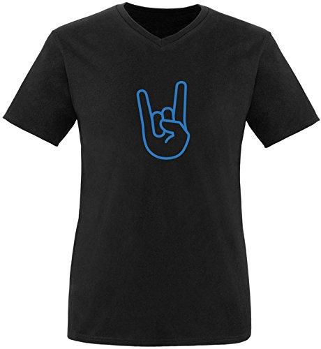 EZYshirt® Rock Hand Herren V-Neck T-Shirt Schwarz/ Blau