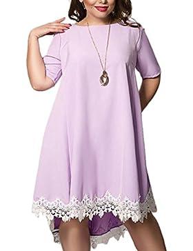 Verano Mujeres Moda Talla Grande Vestido Encaje Splicing Irregular Péndulo Grande Vestidos de Partido Coctel Cuello...