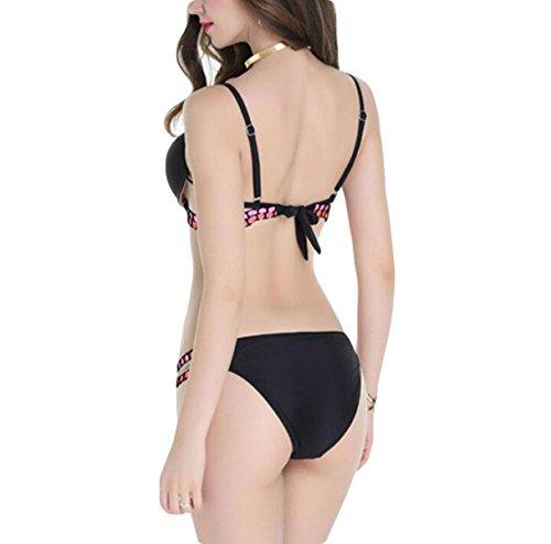 Frau Split Badeanzug Bikini Feste Schwarze Binde Black
