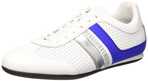 Bikkembergs Springer 99 L.Shoe M Leather, Pompes à Plateforme Plate Homme, Noir Blanc Cassé (White/Bluette)
