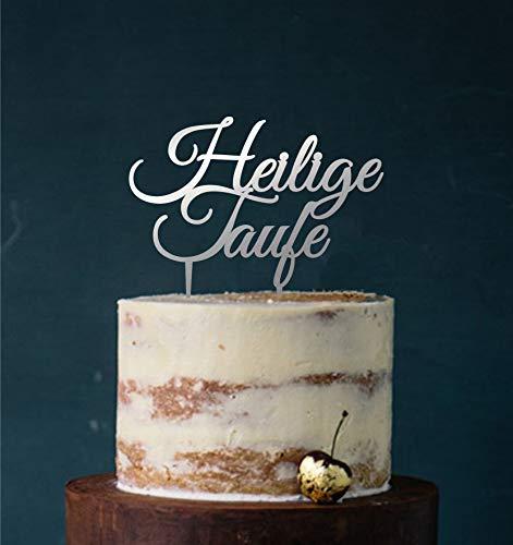 Manschin-Laserdesign Cake Topper Acryl/Holz heilige Taufe, Topper, Caketopper, Einstecker, Stecker, Torte, Kuchen, Tortenstecker (Spiegel Silber (Einseitig))