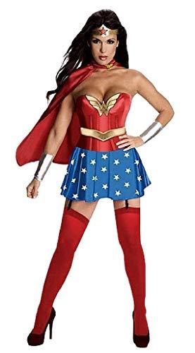 Evrylon costume wonder sexy carnevale adulti vestito super woman donna supereroi super eroi ( taglia xxl ) travestimento cosplay ottimo come regalo per natale o compleanno