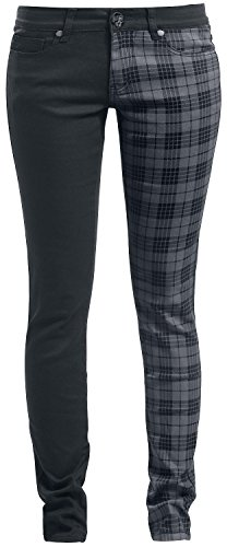 Rock Rebel by EMP Tartan Skarlett (Slim Fit) Pantaloni donna nero/grigio W31L34