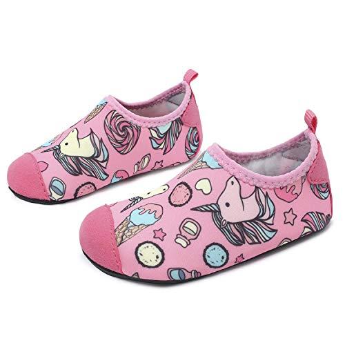 JOINFREE Niños Niñas Nadar Zapatos para el Agua Deportes acuáticos Calcetines Zapatillas Zapatos para la Piscina (Caramelo Unicornio,26-27)