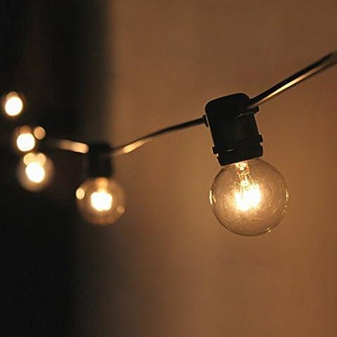 Guirnalda de 25 bombillas G40, 762 cm Guirnaldas de bombillas, tipo globo, transparentes, impermeable, certificación CE para interior/exterior, incandescentes, incluye 2 bombillas de repuesto (EU