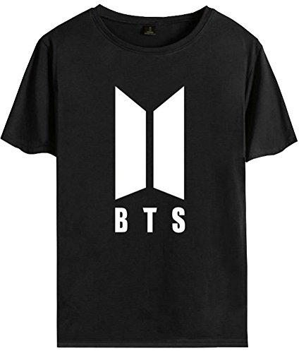 Eudolah Donna T-shirt BTS Stampa con fiori Manica corte unisex k-pop Bantan