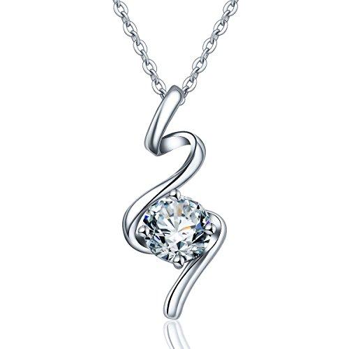 (Eudora 925 Sterling Silber CZ Glänzend Freya Anhänger Kristall Kette Schmuck Glücksbringer Halskette für Frauen, Mama, Freundin, Kette Silber 18