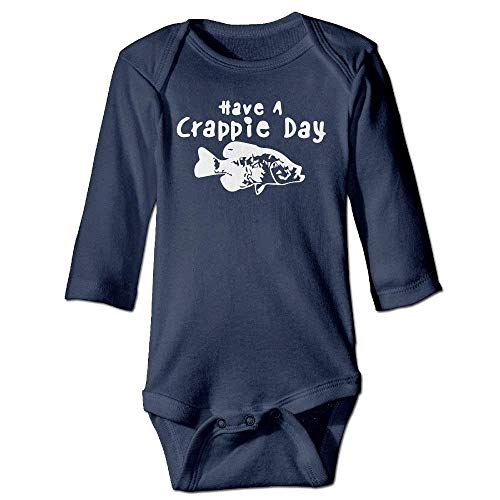 VTXWL Unisex Infant Bodysuits Have A Crappie Day Boys Babysuit Long Sleeve Jumpsuit Sunsuit Outfit Navy