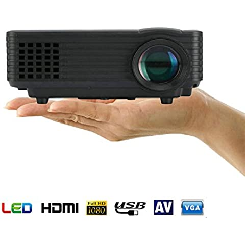 Mini Proyector LED, Kingcenton® Videoproyector Portátil 1080P LED LCD a Todo Color con 800 Lúmenes, Proyector Multimedia Portátil Home Cinema Soporta TV / HDMI / USB / VGA Lamparita LED de Regalo (805 Negro)