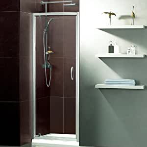 Trueshopping Feint Pivot Bathroom Reversible Shower Door With 5mm Toughened Safety Glass 1850mm High and Satin Silver Frame For Enclosure Recess Walk In Cubicle - Lifetime Guarantee - All Sizes Available! 900mm