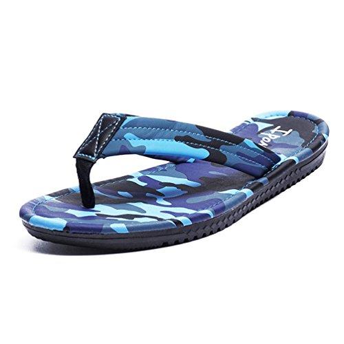 Hishoes Damen Herren Zehentrenner Flip Flops Strand Aqua Sandalen Blau