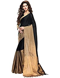 Miraan Women's Cotton Color Block Saree With Blouse Piece - Aryaa-10_Black_Free Size