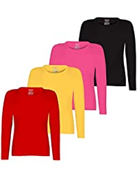 Kiddeo Girl's Plain Full Sleeves t Shirts - Pack of 4