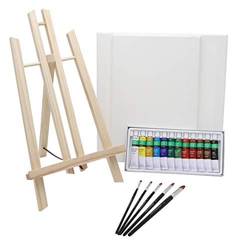 Paintersisters Malset Verona- komplett mit Tischstafffelei, 12x Künstlerfarbe, Soft-Pinselset und...