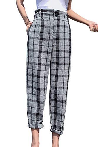 Vemubapis Pantalones Pitillo Holgados con Botones A Cuadros Y Cintura Alta para Mujer Grey M