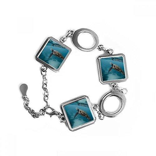DIYthinker Ocean Sea Turtle Wissenschaft Natur Bild quadratische Form Metall Armband Love Gifts Jewelry mit Kette Dekoration