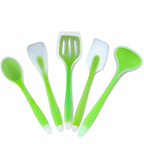 TWH 5 pièces de classe alimentaire , Silicone Ustensiles de cuisine, cuisine cuisson ensembles, contient Cuillère à soupe, Vidange fourche, Spatule, Cuillère, Grande cuillère (vert)
