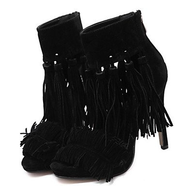 LFNLYX Donna Sandali Primavera Estate Autunno Novità Comfort Suede Office & Carriera Party & abito da sera Stiletto Heel Zipper fiocco nero rosso grigio Gray