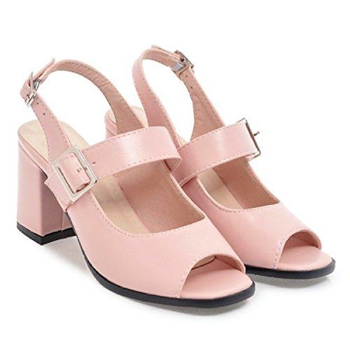 PPFME Damen Damen Sandalen Slingback Ankle Strap Blockabsatz Peep Toe Braut Dressy Mary Jane Schuhe Für Mädchen,Pink-EU37=235 -