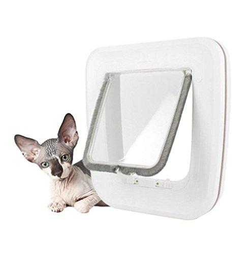 WYXIN Große Katze / kleiner Hund, weiß, einfache Installation zum Schieben von ABS-Türen