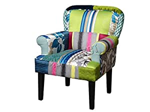 FoxHunter Patchwork Chair Fabric Vintage Armchair Seat Dining Room Living Bedroom Office Furniture PC005