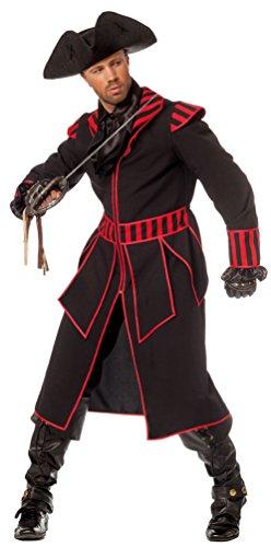Karneval-Klamotten Piraten-Kostüm Herren Kostüm Pirat Kapitän schwarz-rot Abenteuer Herrenkostüm Piraten-Mantel Größe 54