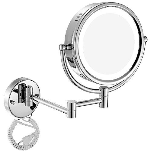 GURUN Beleuchteter Kosmetikspiegel mit Wandhalterung und LED Beleuchtung Vergrößerungsspiegel, 360°drehbar doppelseitig,3-fach + normal