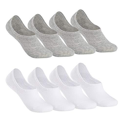 Paar Low Cut Sock (Falechay Sneaker Socken Damen Herren Füßlinge Footies 8 Paar Kurze Großes Silikonpad Verhindert Verrutschen Unsichtbare-WeißGrau 39-42)