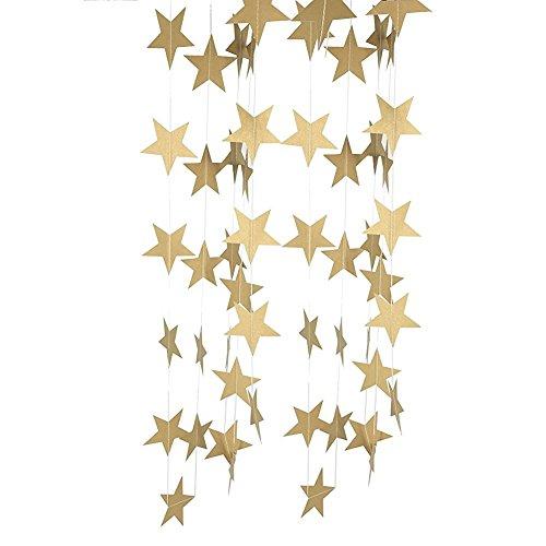 (Riroad Girlande, Wimpelkette aus der Pastel-Perfection-Reihe, Design: funkelnde Sterne, für Hochzeit, Party, Durchmesser: 10cm, gold)