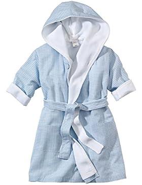 wellyou, Baby-Kinder-Bademantel, hellblau-weiss Vichy-Karo, für Jungen, 100% Baumwolle