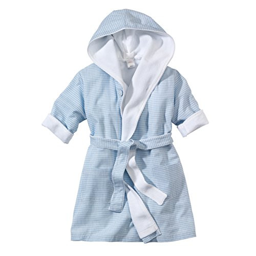 wellyou, Baby-Kinder-Bademantel, hellblau-weiss Vichy-Karo, für Jungen, 100% Baumwolle, Größe 74-98 (Frottee-bademantel Groß Und Hoch)
