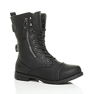 Ajvani Womens Ladies Flat Low Heel Lace up Zip Combat Military Ankle Boots Size  7 UK Black Matte