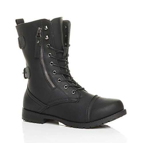 Ajvani Womens Ladies Flat Low Heel Lace up Zip Combat Military Ankle Boots Size 5 38