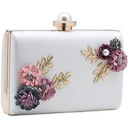 Bolso de Mano Blanco con detalles de flores en colores