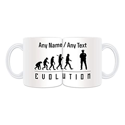 Personalised Gift - Police Mug (Evolution Full Wrapped Design Theme, White) - Any Name / Message on Your Unique - Occupation Worker Staff Employee Silhouette Outline Contour Community Support Officer PCSO Policeman Hat Cap Uniform British Constable UK PC Sergeant Inspector Traffic PC SGT INSP CID Helmet History