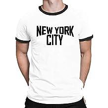 Buzz Shirts New York City Mens Ringer T-Shirt Camiseta para Hombre Retro Style