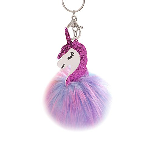 Oyfel Metal llavero Trousseau puerto clave de la unicornio Internet Mujer Niña bola de zorro de peluche coche recuerdo regalo colgante accesorios de teléfono (10)