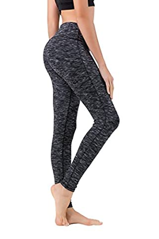 Queenie Ke Women Power Stretch Plus Size High Waist Yoga Pants Running Tights Size S Color Black Grey Space